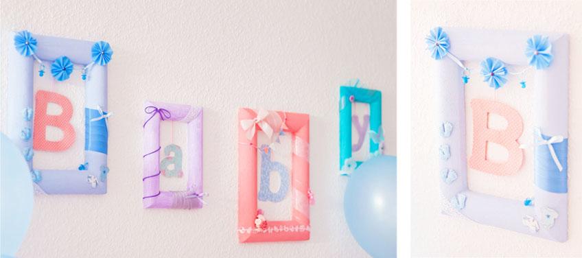 DIY Girlande aus selbstgestalteten Styropor-Bilderrahmen