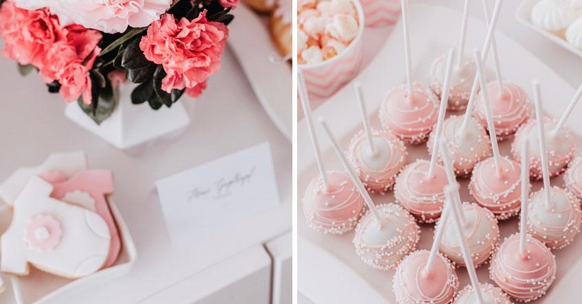 Blumige Deko und Cake Pops in Rosa und Pink (c) Anna Fichtner Fotografie