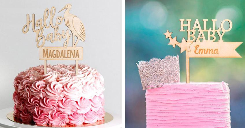 Cake-Topper für die Babyparty mit individuellem Text - auch auf Deutsch