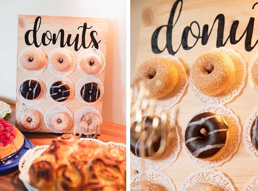 Voll im Trend: Donutwall in den passenden Farben deiner Babyparty © juliafashionblonde