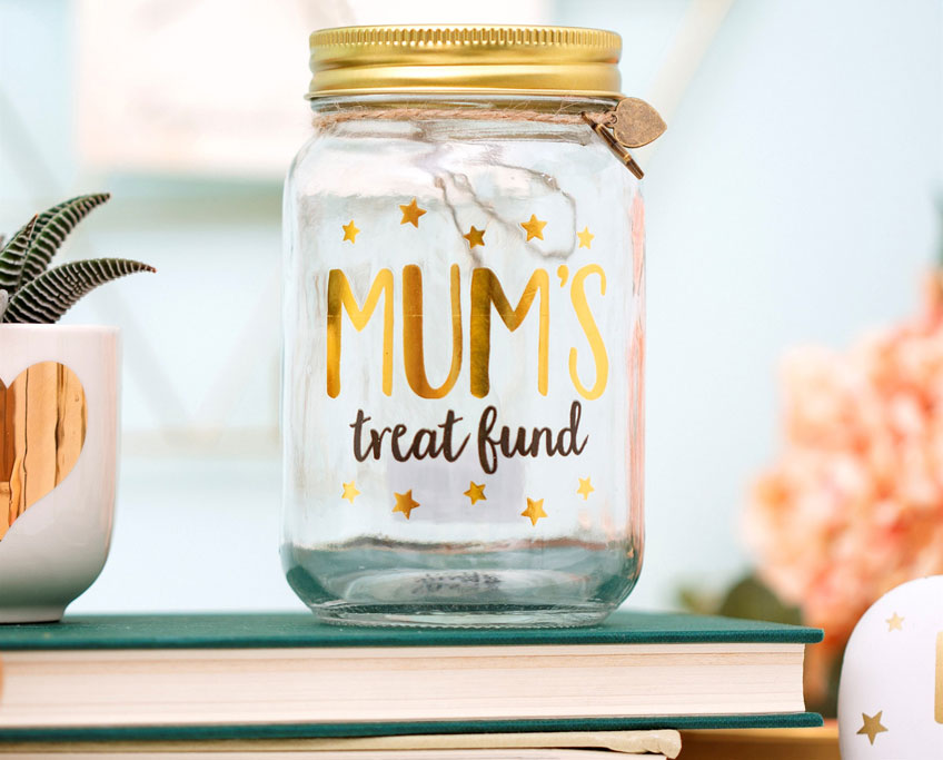 Ein süßes Geschenk zur Mini-Babyparty - Das Deko-Glas mit Gutscheinen