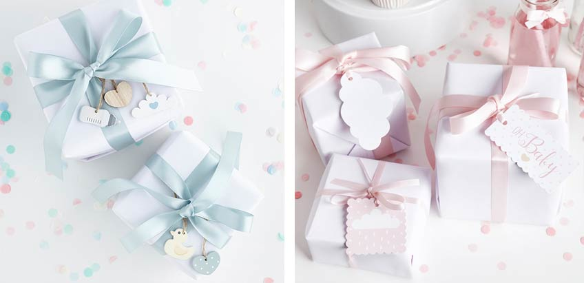 Geschenkanhänger mit niedlichen Motiven peppen schlicht verpackte Babyparty-Geschenke schnell auf