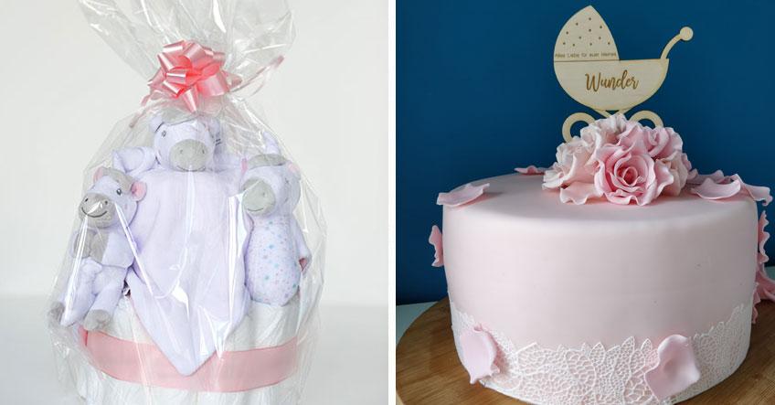 Mach der Bald-Mama eine Freude mit Windeltorte, individuellem Cake-Topper und mehr