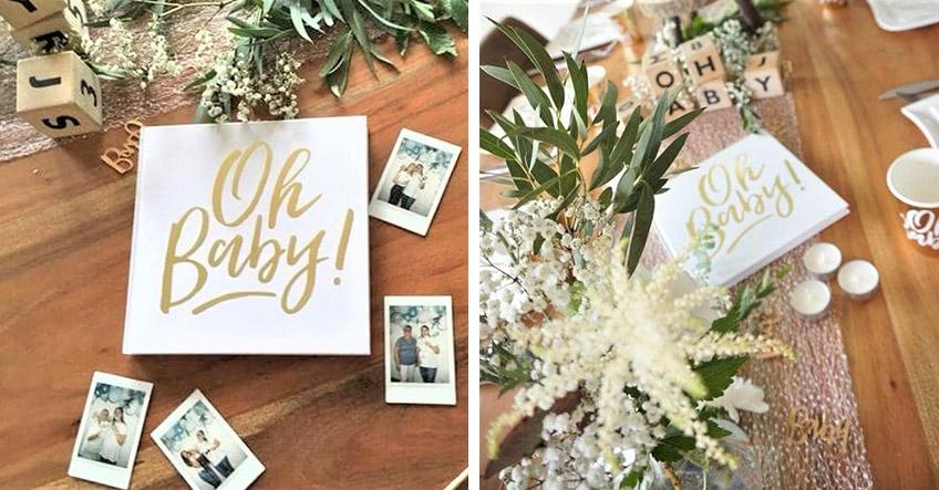 Lass deine Gäste ins Gästebuch schreiben, wie sie deine Greenery-Babyparty finden (c) myboys_and_I