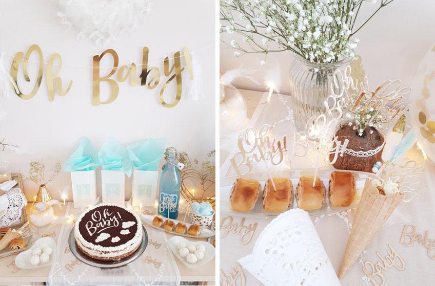 Süße und salzige Snacks mit Party Picks wunderbar passend zur Babyparty-Deko verziert © lxoxndxoxn