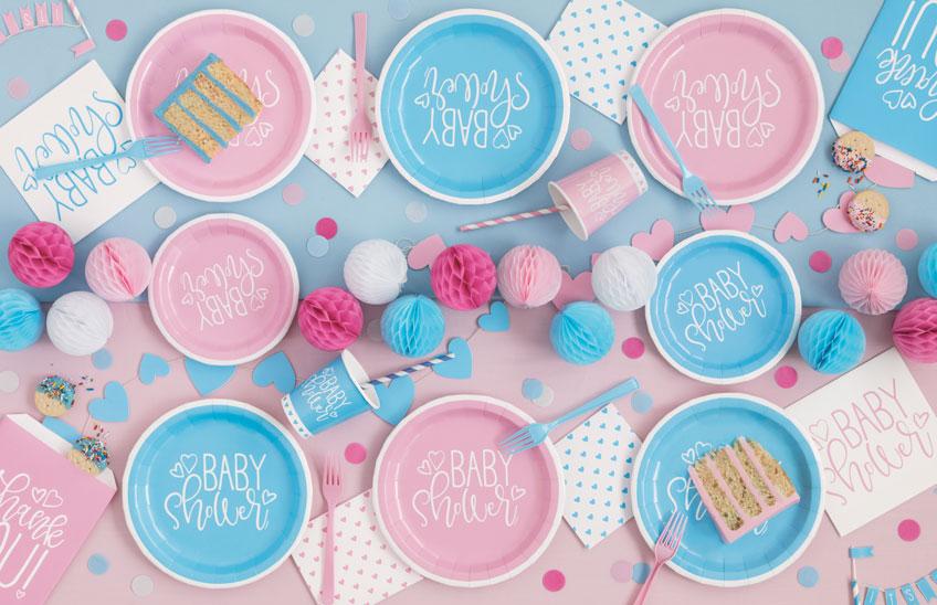 Feier deine Babyparty für Zwillinge toller Deko-Kombi aus Blau und Rosa