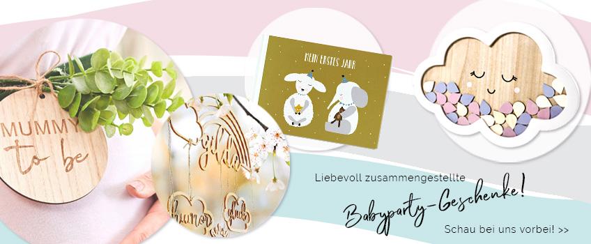 Babyparty-Geschenke, die eine Schwangerschaft verschönern, findest du in ganz unterschiedlicher Form auch bei uns