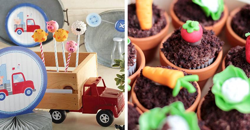 Bauernhof-Zuckerdekore passend zum Geburtstags-Motto