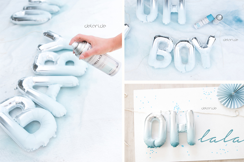 Pimpt eure Buchstabenballons zur Jungen-Babyparty mit blauer Farbe auf! Foto: delari.de
