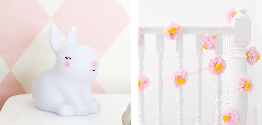 Häschen Motive und Blumengirlanden machen deine Geburtstagsdeko besonders frühlingshaft