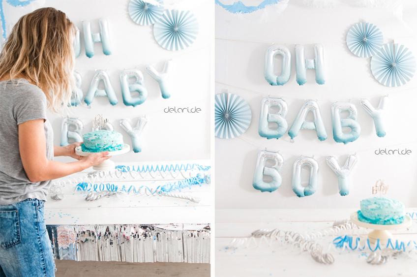 Wow-Effekt: Individuell gestaltete Ballongirlande für die Jungen-Babyparty von delari.de