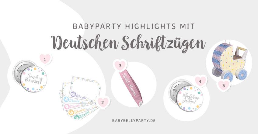 Tolle Produkte für die Babyparty mit deutschem Text