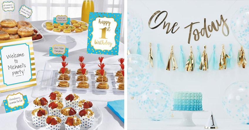 Deko-Sets für ein elegantes Buffet und eine tolle Raumdeko zum 1. Jungs-Geburtstag