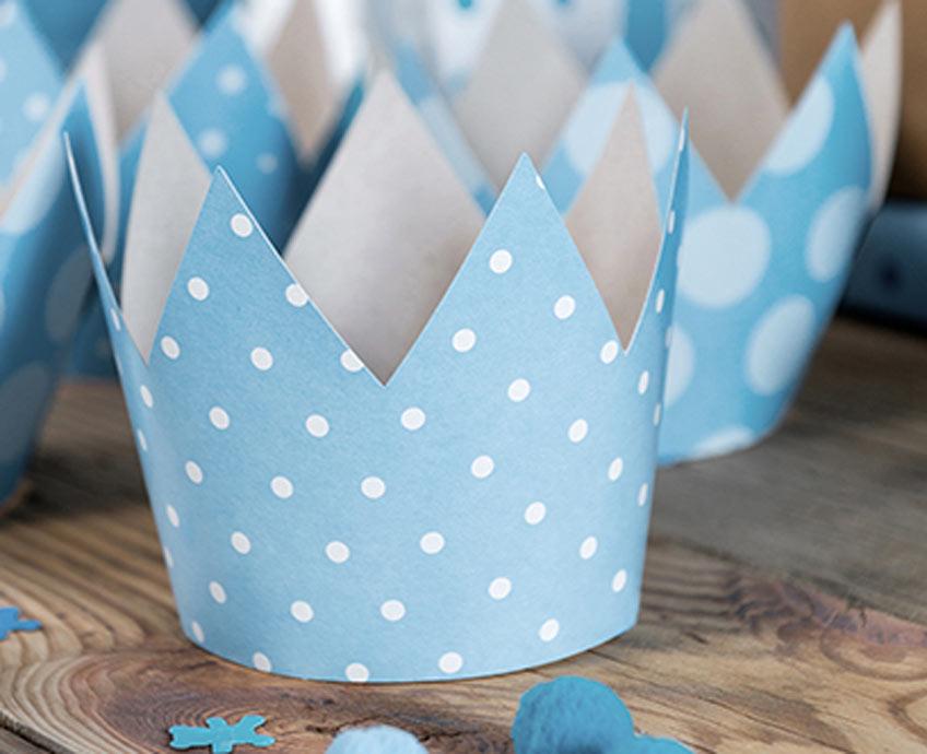 Blaue Geburtstagskronen für deinen kleinen Prinzen
