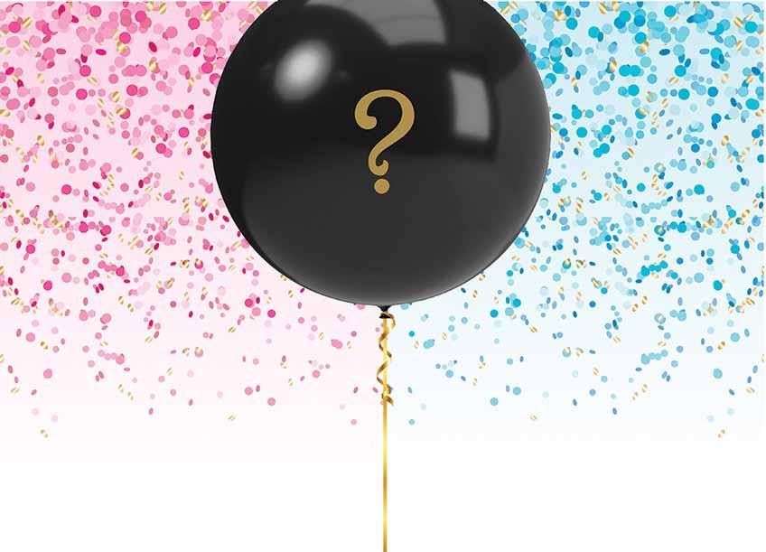 Wird es rosa oder blaues Konfetti regnen? Lasst den Ballon platzen und findet es heraus!