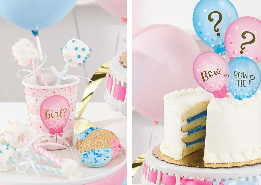 Marshmallow-Pops und eine Torte mit Streifen Füllung werden die Gäste eurer Gender Reveal Party begeistern