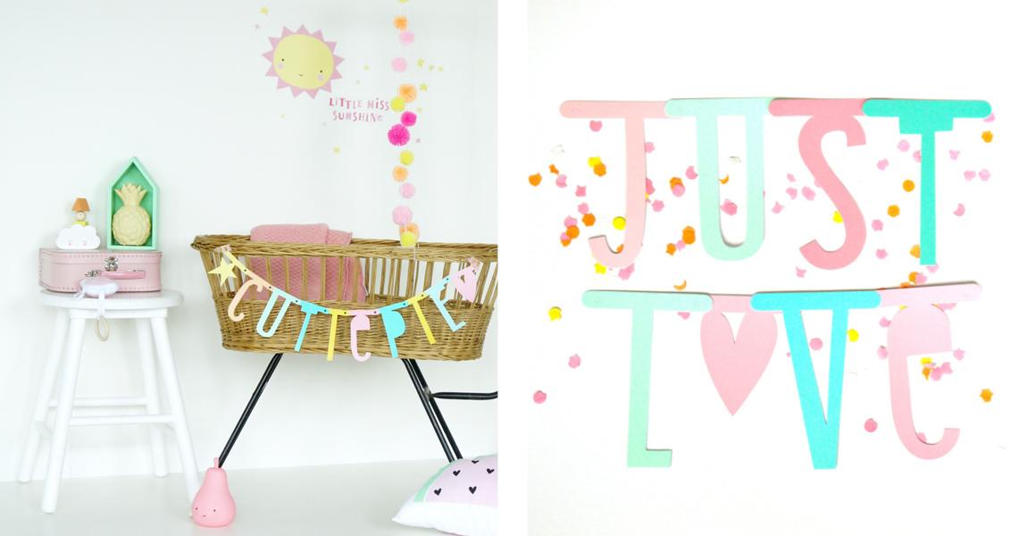 Ob in Pastell oder anderen Stilen und Farben - zum ersten Geburtstag ist die individualisierbare Buchstabengirlande eine megasüße Idee
