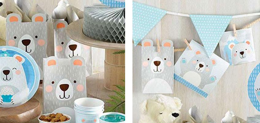 Die putzigen Papiertüten mit Bären-Ohren lassen sich wunderbar in eine originelle Girlande umfunktionieren