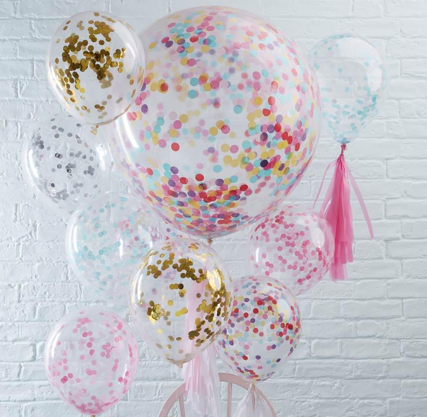 Mit Konfettiballons bekommt ihr schnell wunderschöne Farbtupfer in eure Deko zum Baby Sprinkle