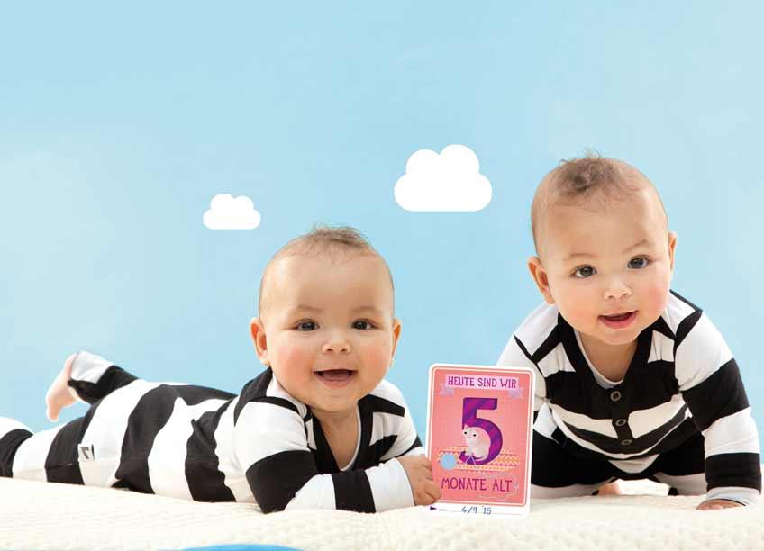 Halte jeden Baby-Monat mit den liebevoll designten Fotokarten fest
