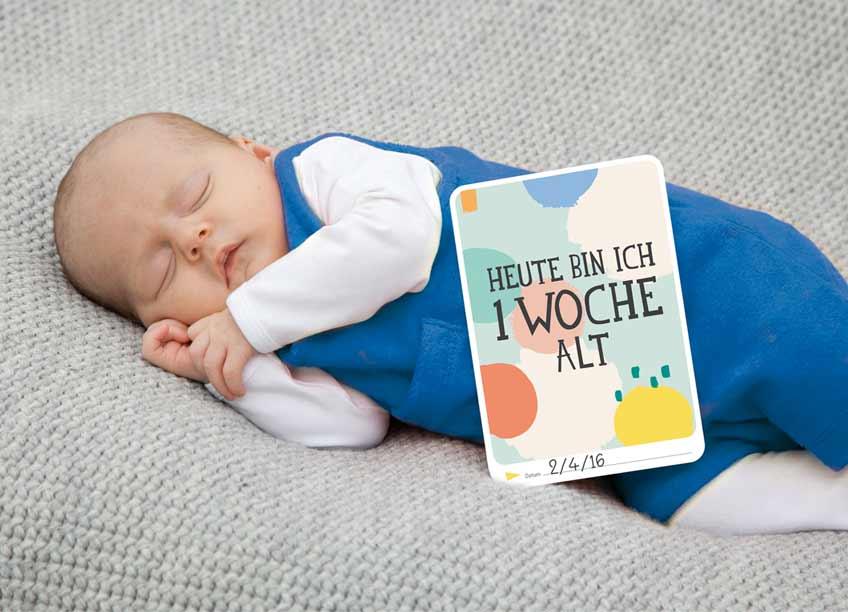 Mit den Baby-Meilensteinkarten hast du immer schnell die richtige Momentbeschreibung parat