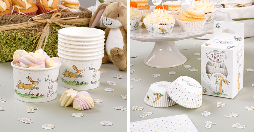 Deko mit Frühlingsmotiven für den Sweet Table auf der neutralen Babyparty