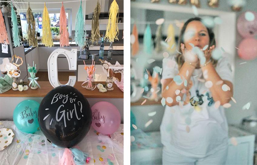 Spannendes Highlight auf der Gender Reveal Party: Konfetti in Blau für Jungen und in Rosa für Mädchen © c.loves.c