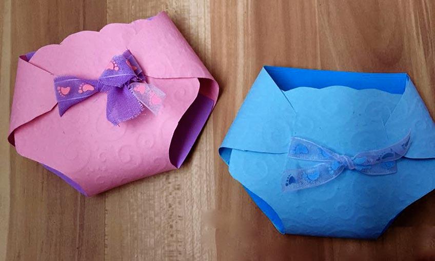 Windeln aus Papier sind süß für Babyparty-Spiele und als Gastgeschenk-Verpackung