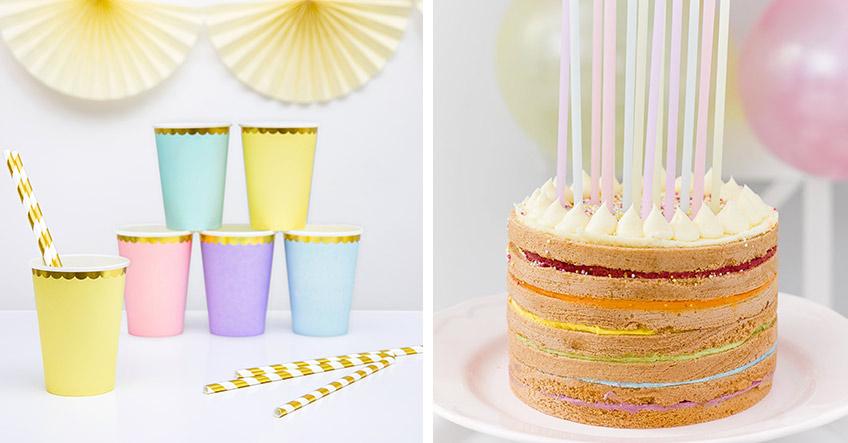 Auf dem 1. Geburtstag mit Regenbogenmotto brauchst du auch buntes Geschirr!