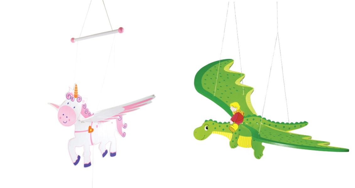 Damit kommt Schwung ins Kinderzimmer - Schwingtiere mit Einhorn- und Drachen-Motiv