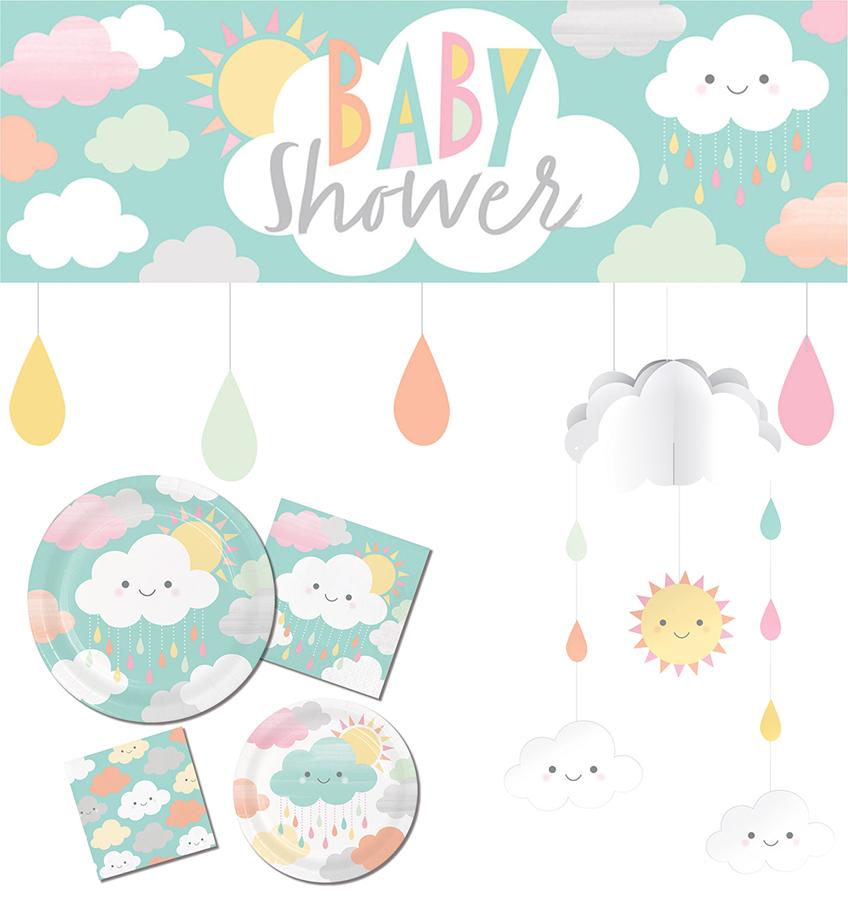 niedliche deko mit wolken und sonne f r babyparty und. Black Bedroom Furniture Sets. Home Design Ideas