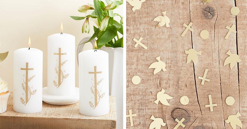 Wunderschöne Platzdeko zur Taufe in Weiß und Gold findest du bei uns im Shop