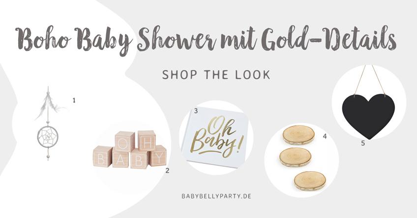 Shop the Look: Natürliche Boho-Elemente und goldene Details für die Baby Shower