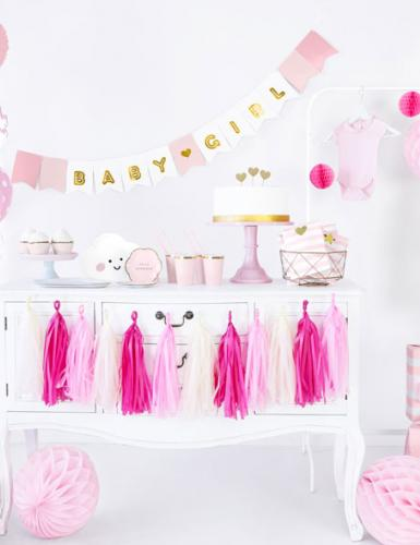 So professionell kann eine Babyparty in traditionellem Rosa dekoriert sein