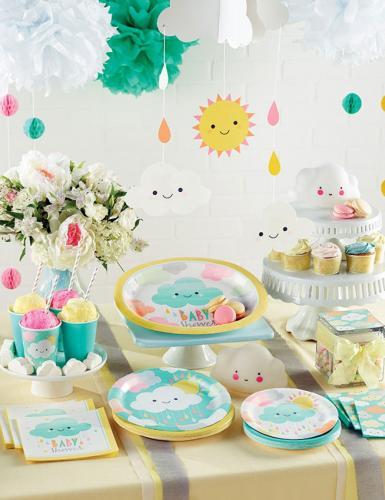 Niedliche Deko mit Wölkchen und Sonne für eure Babyparty oder den ersten Geburtstag findet ihr bei Baby Belly Party
