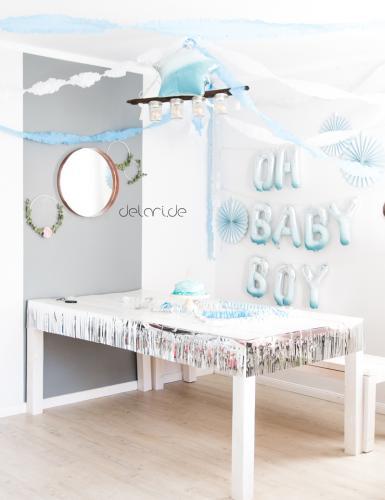 Traumhaft schöne Babyparty-Deko in Hellblau für einen Jungen. Foto: delari.de