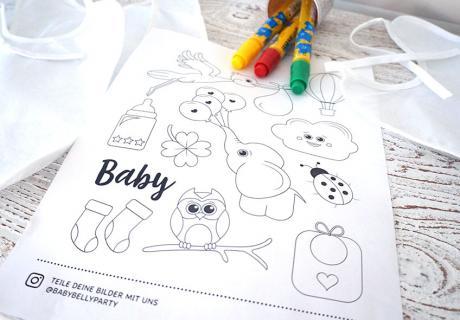 3 süß illustrierte PDFs für eure Babyparty zum kostenlosen Download bei Baby Belly Party
