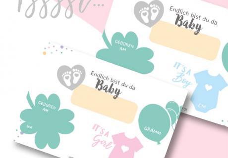 Hallo Baby! Hol dir deine kostenlose Geburtskarte zum Download - Klick hier!