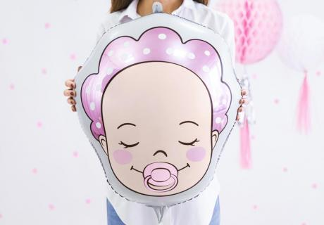 Süße Deko für die Gender Reveal mit Baby-Motiven auf Folienballons