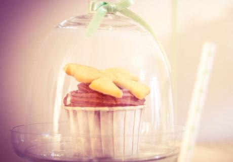Cupcakes mit Schleifen-Cookie für die Babyparty