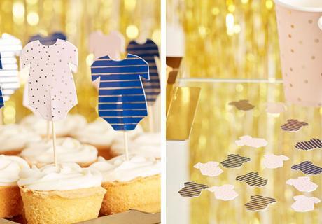 Setze auf den Baby Body als süßes Motiv auch für Cake Topper und Streudeko