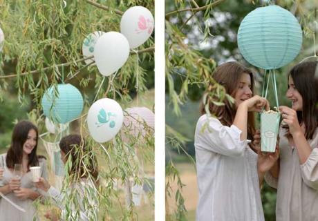 Heißluftballon-Popcornspender für die Babyparty