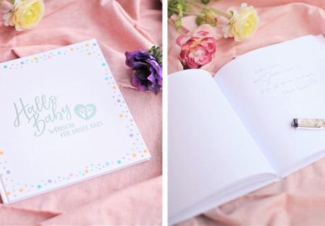 In hübschen Gästebüchern können sich die Babyparty-Gäste verewigen