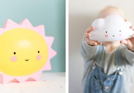 Niedliche Sonne und Wolke als Nachtlicht und Kinderzimmer-Deko