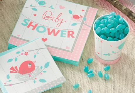 """Babyvogel in Rosarot und Mama-Vogel in Mint für eure Babyparty! Die Deko-Serie """"Hello Baby"""" heißt das bald kommende Baby willkommen und taucht euren Tisch in frühlingshafte Farben."""