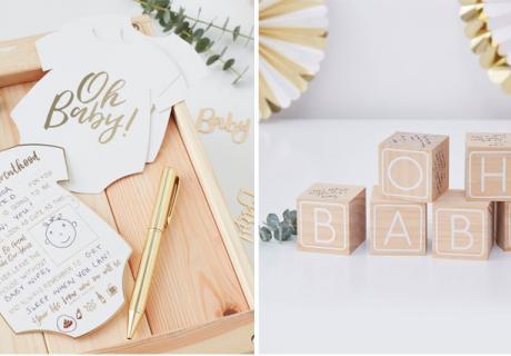 Advice-Cards und Holzwürfel zum Beschreiben in passender Optik zur glanzvollen Deko in Gold