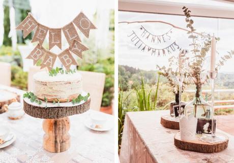 Jute-Kuchengirlande & Baumscheiben für viel Natürlichkeit auf der Babyparty © juliafashionblonde