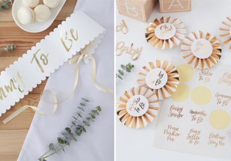 Mummy to Be Schärpe und DIY Orden mit Gold-Akzenten für eure elegante Babyparty