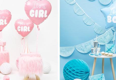 Dekorier die Zwillings-Babyparty mit süßen Ballons für Jungs und Mädels