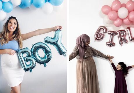 Für die Babyparty kannst du deine Ballongirlande mit Folienballons verschönern ©a.little.rosa ©amiras.mommy